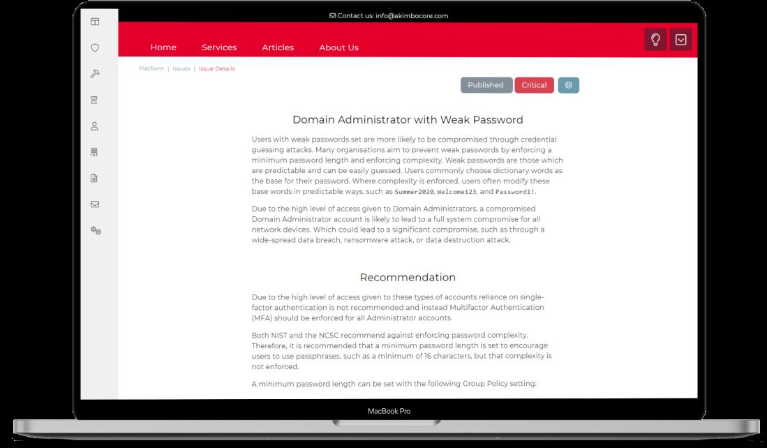 Akimbo Core Dashboard Assets List Screenshot